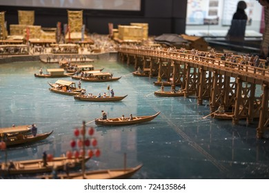 TOKYO, JAPAN - OCTOBER 19, 2016: Showroom in Edo Tokyo Museum of housing and Living that Introduce llfestyles of people in Edo periods(1803-1868), through models