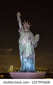 Tokyo, Japan: October 2, 2018:  Odaiba Statue of Liberty in Tokyo, Japan.   The Odaiba Statue of Liberty is meant to showcase the strong ties between Japan and France.