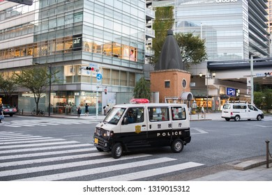 Tokyo, Japan: October 2, 2018: A Tokyo police car patrolling the streets of Tokyo.  Tokyo has a population of 9.2 million.