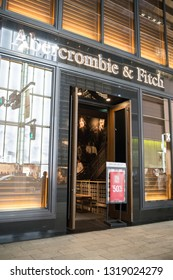 Tokyo, Japan: October 2, 2018:  Abercrombie & Fitch store in the Ginza district of Tokyo, Japan.   Abercrombie & Fitch is a multinational  fashion retailer.