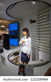 Tokyo, JAPAN - October 20, 2016: Junko Chihira Toshiba android robot Japan in Aqua City Odaiba, a shopping center on Tokyo's waterfront