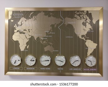 Tokyo, Japan - October 20, 2019 : World Map with time zones