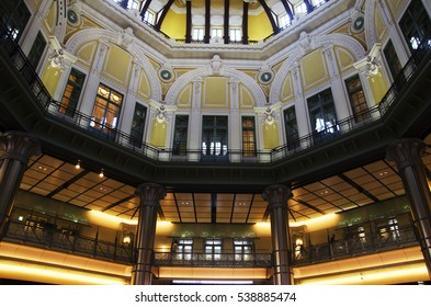 TOKYO, JAPAN - OCTOBER 20 : Interior design of old building classic style for people look and visit inside of JR Tokyo railway station at marunouchi district on October 20, 2016 in Tokyo, Japan