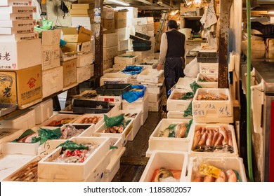 Tokyo / Japan - October 21st 2017: Tsukiji fish market, the largest wholesale fish and seafood market in the world, handling over 2,000 tons of marine products per day.