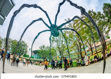 Tokyo, Japan - October 22, 2016: Maman - a spider sculpture by Louise Bourgeois at the entrance of Mori Tower at Roppongi Hills Tokyo, Japan.