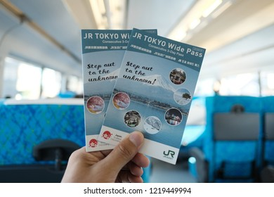 TOKYO, JAPAN - OCTOBER 22, 2018: The JR Tokyo Wide Pass, pass for unlimited rides in Tokyo and the surrounding Kanto area.