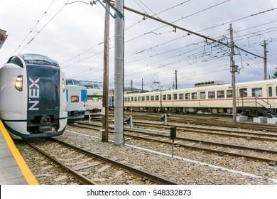 TOKYO, JAPAN - OCTOBER 23 2016: Narita Express is a limited express train serves Narita International Airport from various Greater Tokyo Area stations