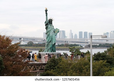 TOKYO, JAPAN - OCTOBER 23, 2018: Replica of the Statue of Liberty in Odaiba, Tokyo, Japan. Odaiba is a high tech entertainment hub on an artificial island in Tokyo Bay.