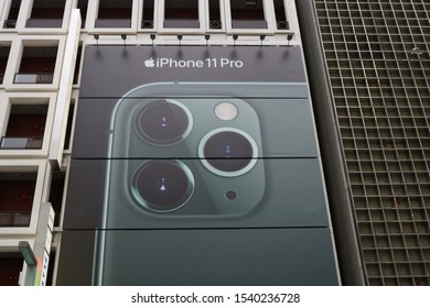 TOKYO, JAPAN - October 23, 2019: A billboard advertising the iPhone 11 pro  which on the front of a building in Ginza above a Softbank store.