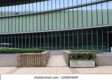 TOKYO, JAPAN - October 26, 2018: A modern section of Tokyo's International Library of Children's Literature, a branch of the National Diet Library. Its renovation was designed by Tadao Ando.