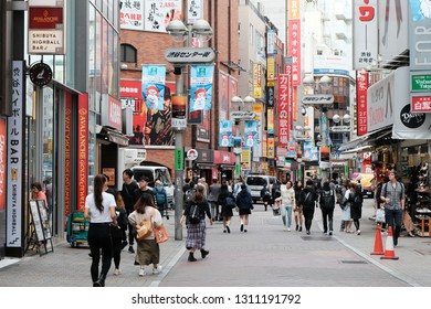 TOKYO, JAPAN - OCTOBER 26, 2018: Many people walking in Shibuya, Japan. Shibuya is known as one of the fashion centers of Japan.