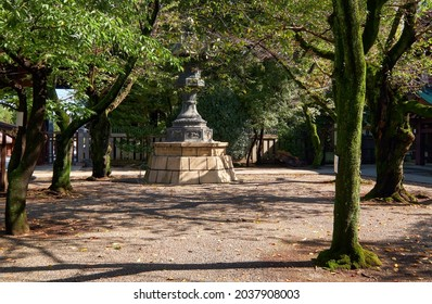 Tokyo, Japan - October 26, 2019:  The Kasuga-doro bronze lantern in the sakura garden of Yasukuni Shrine (Peaceful Country) in Chiyoda, Tokyo. Japan