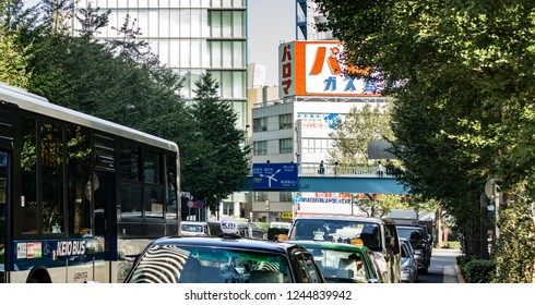 Tokyo, Japan - october 30 2013 : cars traffic line in the morning in the ward of shinjyuku
