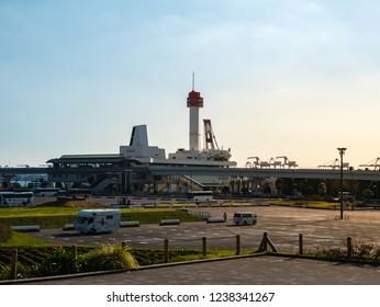 Tokyo, Japan - October 30, 2018: Landscape of Odaiba from Symbol Promenade Park in Odaiba, Tokyo, Japanl in Odaiba, Tokyo, Japan