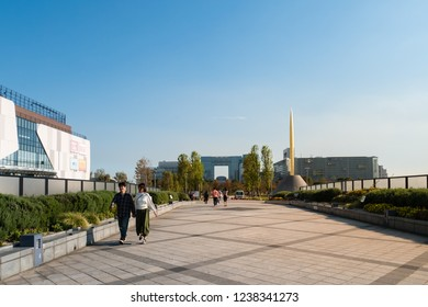 Tokyo, Japan - October 30, 2018: People visiting Symbol Promenade Park in Odaiba, Tokyo, Japanl in Odaiba, Tokyo, Japan