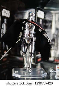 Tokyo, Japan - October 30, 2018: Close up of S. H. Figuarts Star Wars CAPTAIN PHASMA (THE LAST JEDI) on display shelf at Yamashiroya store in Ueno, Tokyo, Japan.