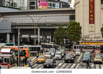 Tokyo, Japan - october 31 2013 : car traffic near the Shibuya train station