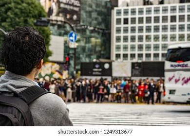Tokyo, Japan - october 31 2013 : people  waiting to cross the street at the  Shibuya scramble crossing