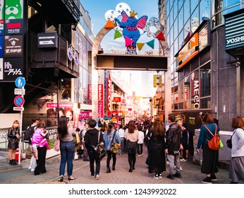 Tokyo, Japan - October 31, 2018: Crowd at Takeshita Street, this is the famous fashion and shopping street in Harajuku, Tokyo, Japan.