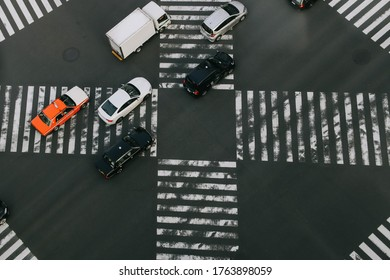 Tokyo, Japan - October 31, 2019 : Top view of intersection in Ginza district, Tokyo, Japan. Soft focus and blurred image.