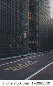 Tokyo, Japan - October 31, 2019 : Part of the side of Hermes building in Ginza district, Tokyo, it was designed by Renzo Piano. Soft focus.