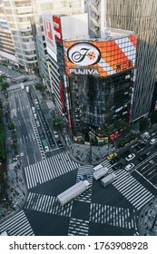 Tokyo, Japan - October 31, 2019 : Top view of intersection in Ginza from Tokyu Plaza Ginza rooftop in Tokyo. Soft focus.