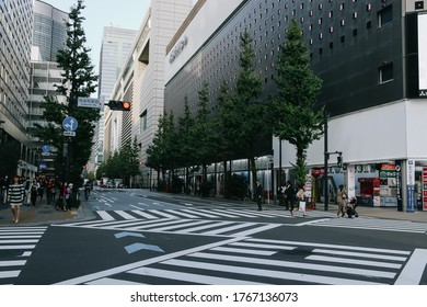 Tokyo, Japan - October 31, 2019: Street view of many people around Yurakucho station on the evening. Soft focus, selective focus.