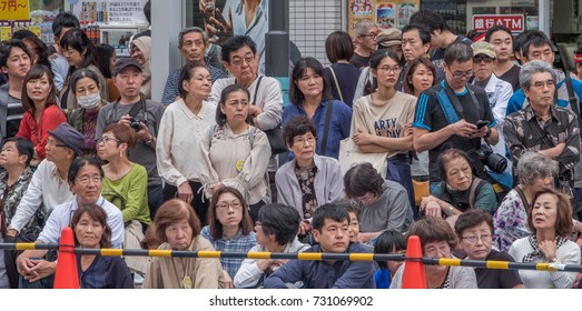 TOKYO, JAPAN - OCTOBER 8TH, 2017. Crowd of people in the street during the Ikebukuro Annual Fukuro Festival.