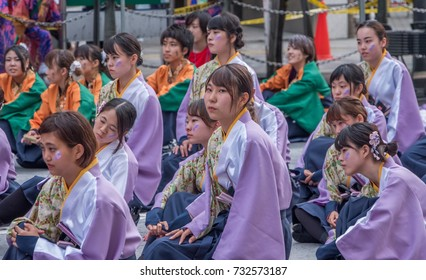 TOKYO, JAPAN - OCTOBER 8TH, 2017. Yosakoi dancers in fancy costume waiting to perform their routine during the Annual Fukuro Festival.