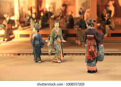TOKYO /JAPAN - SEP 19,2014: The replicas exhibition of original Japanese lifestyle activities and culture showcased at the Metropolitan Edo-Tokyo Museum on September 19, 2014