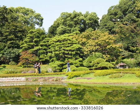 TOKYO, JAPAN - SEP 22: Ninomaru Garden at East Gardens of the Imperial Palace