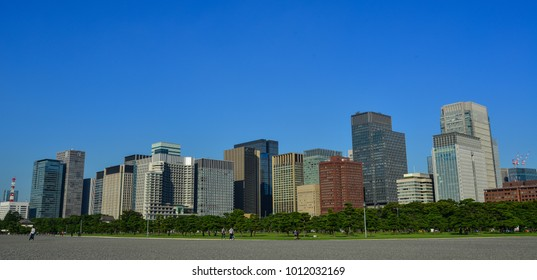 Tokyo, Japan - Sep 29, 2017. Office buildings located in downtown of Tokyo, Japan. Tokyo is the seat of the Emperor of Japan and the Japanese government.