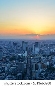 Tokyo, Japan - Sep 29, 2017. Sunset on downtown of Tokyo, Japan. Tokyo is part of the world most populous metropolitan area with upwards of 37.8 million people.