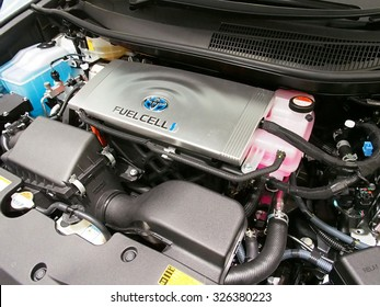TOKYO, JAPAN - SEP 29: Fuel Cell of Toyota Mirai at Toyota Mega Web in Tokyo, Japan on September 29, 2015. Toyota Motor Corporation is a Japanese automotive manufacturer.