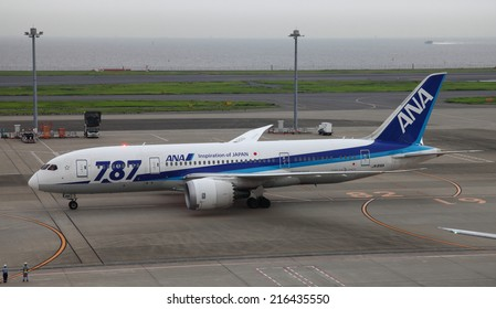 TOKYO, JAPAN - SEPTEMBER 08, 2014: A photo of an All Nippon Airways Boeing 787 Dreamliner at Tokyo International Airport Haneda, Japan. ANA became the world's first airline to operate the Boeing 787.