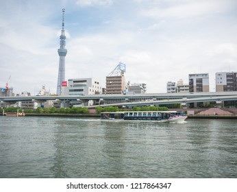 Tokyo, Japan. September 12, 2018. Sumida River Terrace, The Skytree Tower , Asahi Breweries and other buildings - from Azumabashi, Asakusa