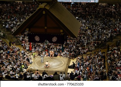 Tokyo, Japan- September 14, 2017: Sumo tournament