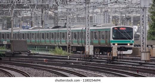 TOKYO, JAPAN - SEPTEMBER 15TH, 2018. Ueno Tokyo  line commuter train at Yurakucho Station.