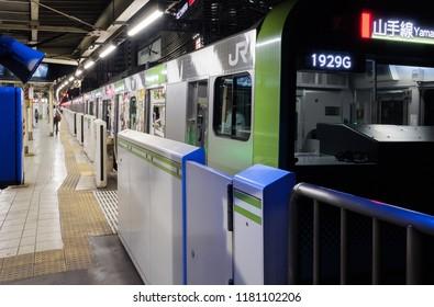 TOKYO, JAPAN - SEPTEMBER 15TH, 2018. East Japan Railway Yamanote  line passing through Yurakucho Station tracks at night.