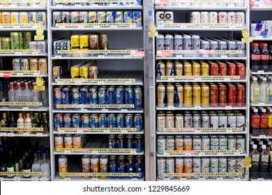 Tokyo, Japan - September 16, 2018 : Assorted japanese alcoholic drinks for sale in a 7-Eleven convenience store at Ueno