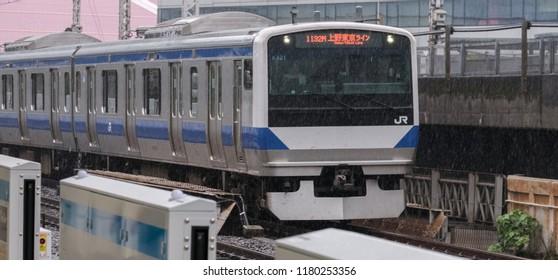 TOKYO, JAPAN - SEPTEMBER 16TH, 2018. Japan Railway Ueno Tokyo line at  Yurakucho station.