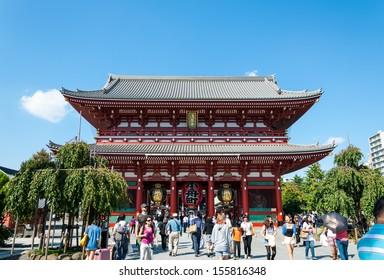 TOKYO, JAPAN - SEPTEMBER 19: Tourists and sightseers wander around Sensoji Temple on September 19, 2013 in Tokyo, Japan.