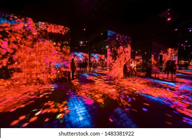 Tokyo, Japan- september 20, 2018: Panoramic view of the halls full of projections at the Mori Digital Art Museum
