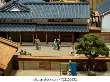 Tokyo, Japan - September 2017: Miniatures of the Edo Tokyo Museum. The Edo-Tokyo Museum is a museum of the history of Tokyo (Japan) during the Edo period.