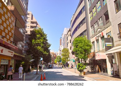 Tokyo, Japan- September 21, 2017: Landscape in the direction of Roppongi from the main street of Azabu Juban shopping district, Minato-ku, Tokyo. This area reflects downtown appearance.
