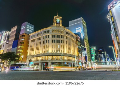 Tokyo, Japan - September 21, 2018 :Traffic in the Ginza District.Ginza is is Tokyo's most famous upmarket shopping, dining and entertainment district .