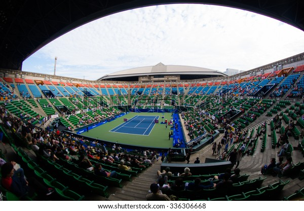 TOKYO, JAPAN - SEPTEMBER 21 :  Ambiance inside Ariake Colisuem at the 2015 Toray Pan Pacific Open WTA Premier tennis tournament