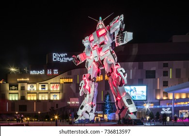Tokyo, Japan. September 26th 2017. Introduction to latest 1 to 1 life size model of  Gundam RX-0 in both Unicorn mode and Destroy Mode at Diver City, Odaiba.