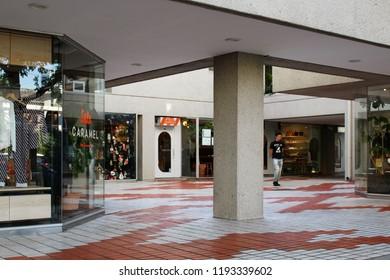 TOKYO, JAPAN - September 28, 2018: Section of a square in the distinctive Fumihiko Maki-designed Daikanyama Terrace complex in Tokyo's Shinbuya Ward.