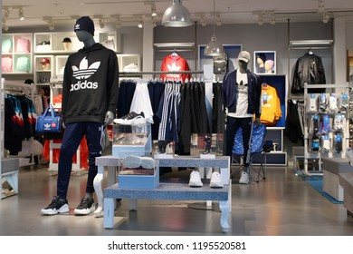 TOKYO, JAPAN - September 28, 2018:  View of the interior of an Adidas store in Tokyo's Roppongi Hills development.